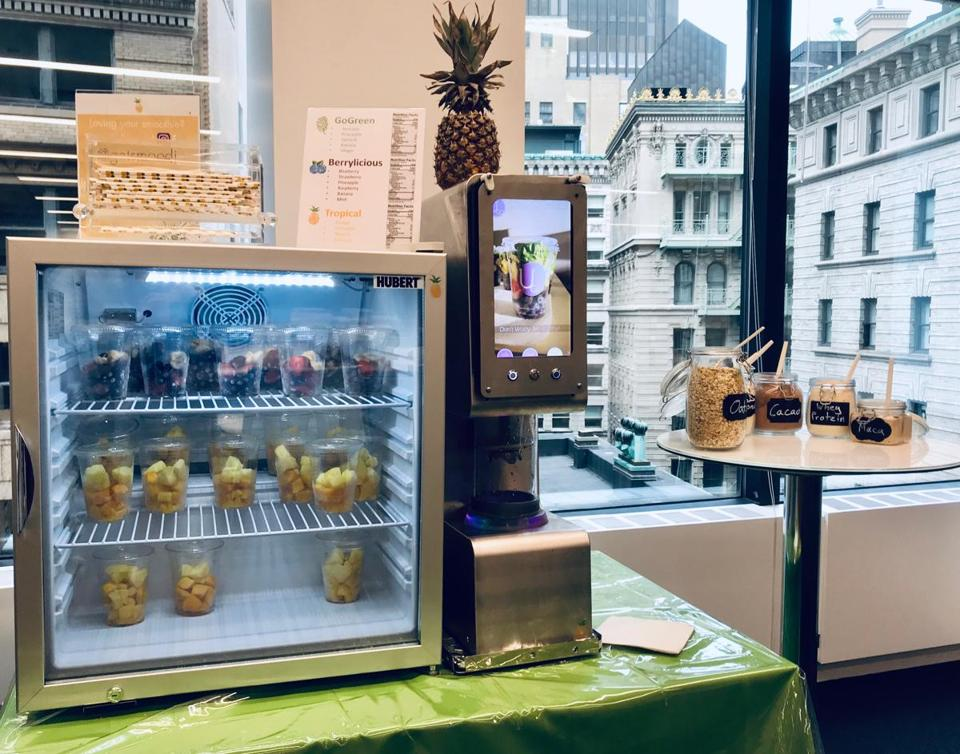 The startup Smoodi, which is designing a smoothie-making station for offices, gyms, and stores, recently tested a prototype at Boston Consulting's offices.