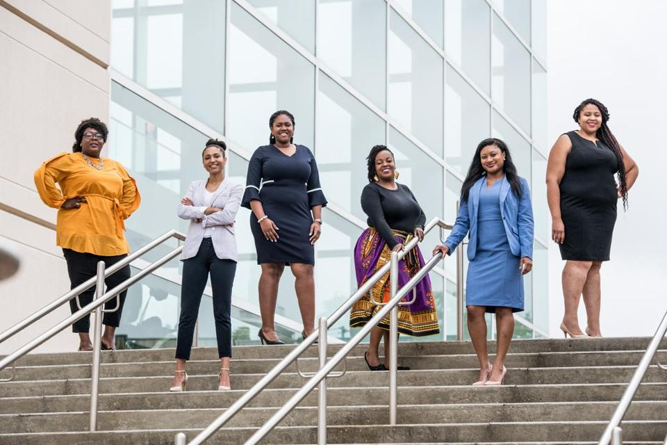 Among women in top campaign roles in South Carolina are (from left) Christale Spain, Lauren Harper, Breanna Spaulding, Tiffany James, Alycia Albergottie, and Jessica Bright.