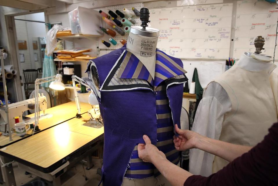 SOMERVILLE, MA - June 21, 2019: Head draper Therese Beck works on a vest and coat for an upcoming opera at Costume Works in Somerville, MA on June 21, 2019. (Formed in 1996, Costume Works is staffed by tailors, milliners, stitchers, designers, sculptors, and painter/dyers who can make hundreds of costumes at a time, and it has a giant list of clients, including lots of local theater companies, opera companies, and Boston Ballet, but also organizations as far away as Disney World and Ford's Theater in DC. ) (Craig F. Walker/Globe Staff) section: metro reporter: