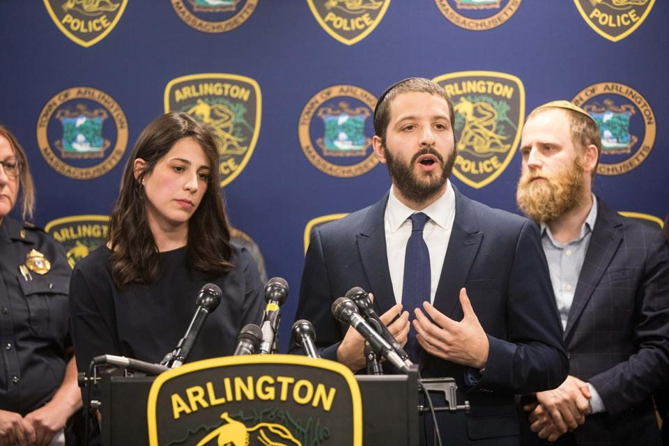 Rabbi Avi Bukiet, right, and his wife, Luna, addressed the media after two fires broke out at the Chabad Center for Jewish Life in Arlington.