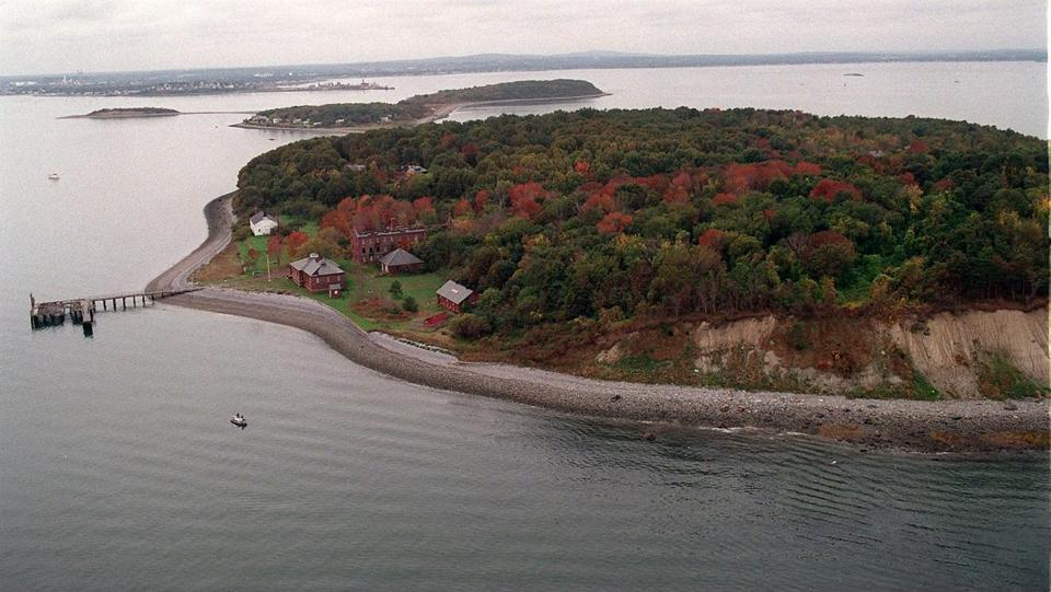 An aerial view of Peddocks Island.