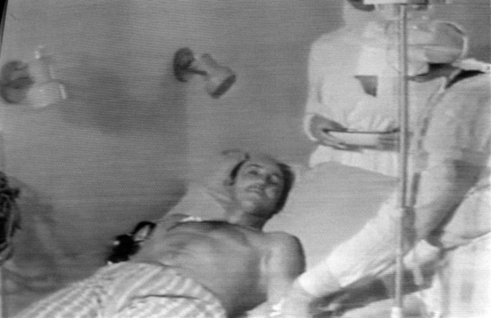 Undated picture sent by Soviet television of a man injured in the blast of No. 4 reactor of Ukrainian Chernobyl nuclear plant, the world's worst nuclear accident of the 20th century. / AFP / - (Photo credit should read -/AFP/Getty Images)