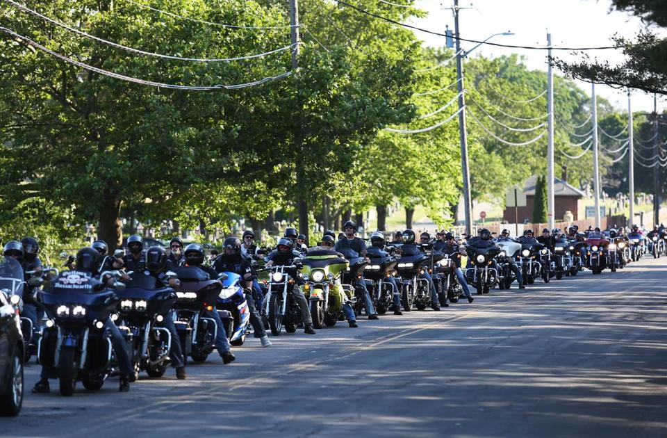 WHITMAN, MA - 06/26/2019 Motorcyclists line up to park for a charity event and vigil that was held at the Whitman VFW Post 697 to benefit the Jarheads Motorcycle Club. The event was in the wake of the deaths of even members of the Jarheads Motorcycle Club who were killed on Friday while biking to a charity event. Erin Clark for The Boston Globe
