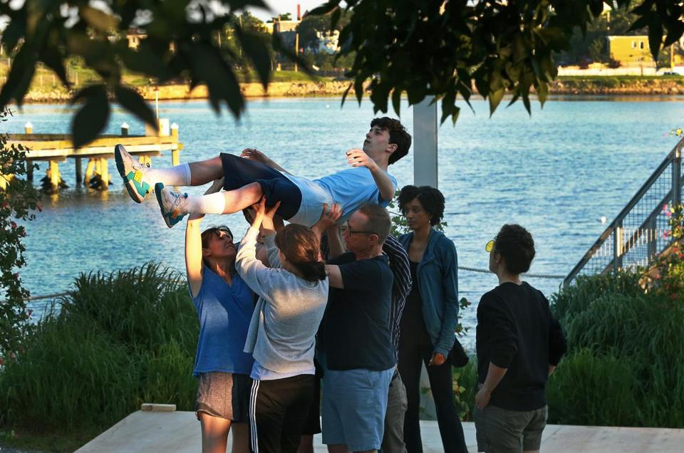 "Seamus Doyle is held aloft during a rehearsal of ""The Curious Incident of the Dog in the Night-Time."""
