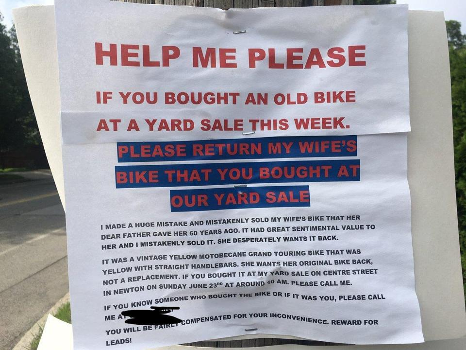 Allan Steinmetz accidentally sold his wife's beloved vintage bicycle, a gift from her deceased father, at a yard sale on Sunday. Now, he's pleading for help getting it back.