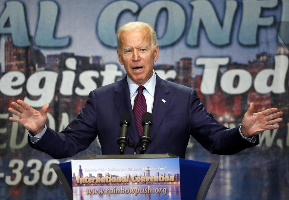 Former vice president Joe Biden spoke Friday at the convention of the Rainbow PUSH Coalition in Chicago.
