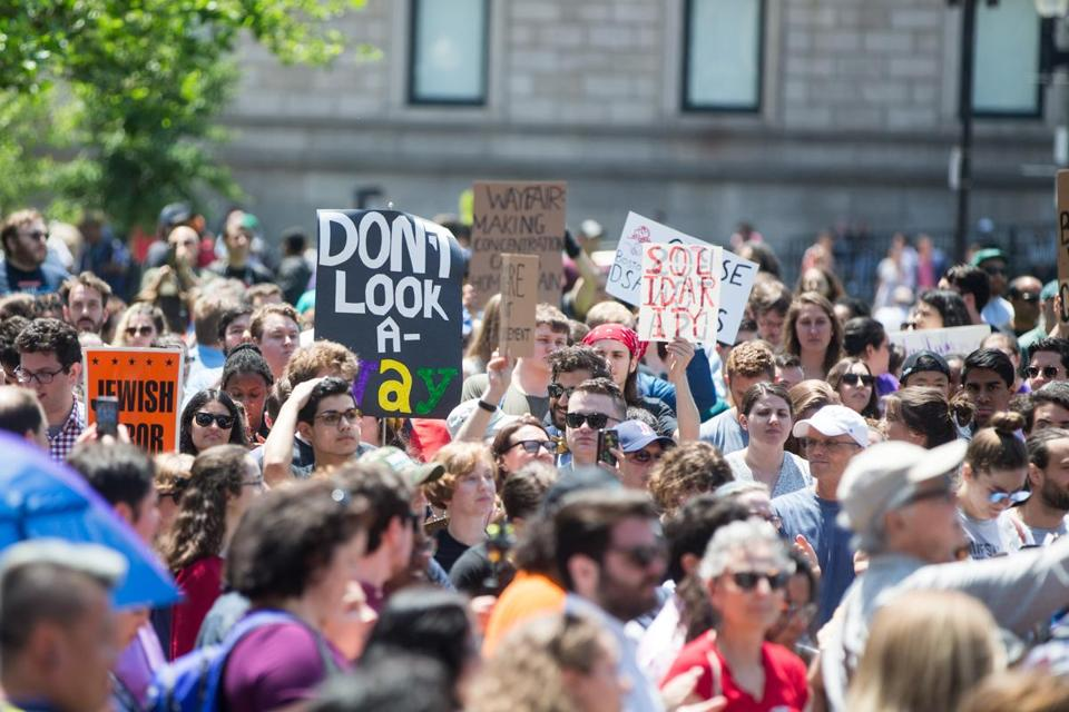 Participants of a Wayfair walkout gathered in June in Copley Square in Boston.