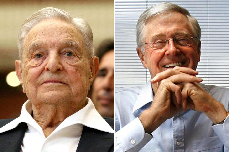George Soros (left) and Charles Koch are teaming up on the effort.