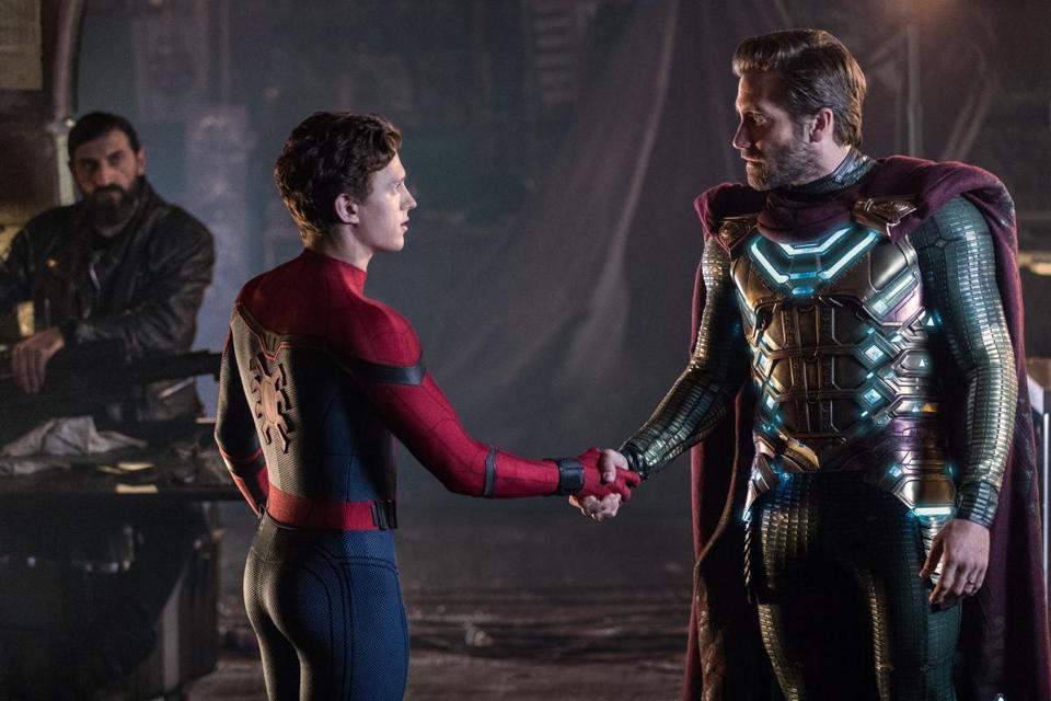 Peter Parker (Tom Holland) and Jake Gyllenhaal is Mysterio in the film SPIDER-MAN: FAR FROM HOME.