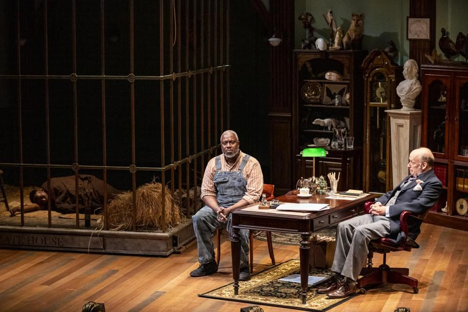 "From left: Antonio Michael Woodard, André Braugher, and Frank Wood in ""A Human Being, Of a Sort."""