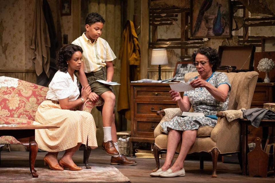 "Mandi Masden (left), Owen Tabaka, and S. Epatha Merkerson in Williamstown Theatre Festival's production of ""A Raisin in the Sun."""