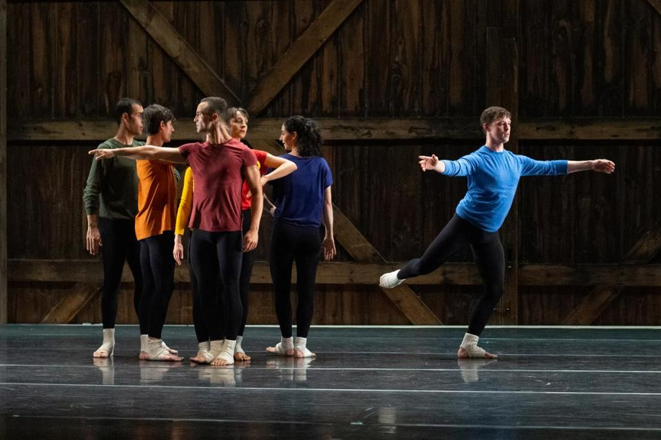 """How to Pass, Kick, Fall and Run"" is one of the Cunningham works performed by Compagnie CNDC-Angers."