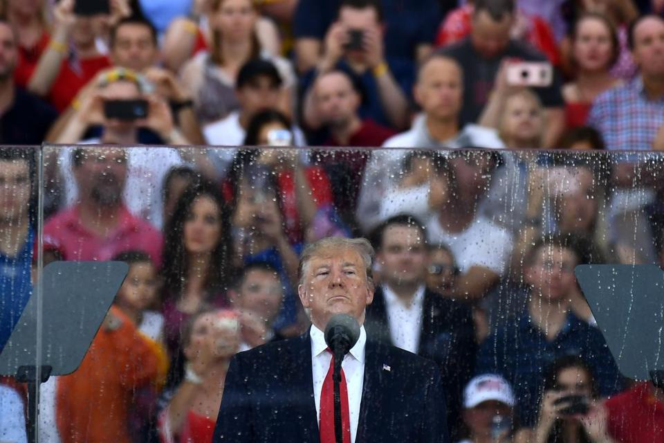 "Trump looked on during the ""Salute to America"" Fourth of July event."
