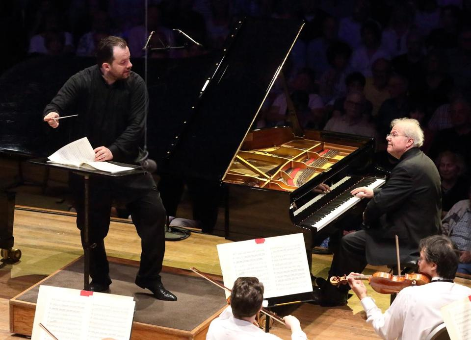 Andris Nelsons led the BSO and pianist Emanuel Ax on Friday night at Tanglewood. On Saturday night, violinist Anne-Sophie Mutter was soloist.