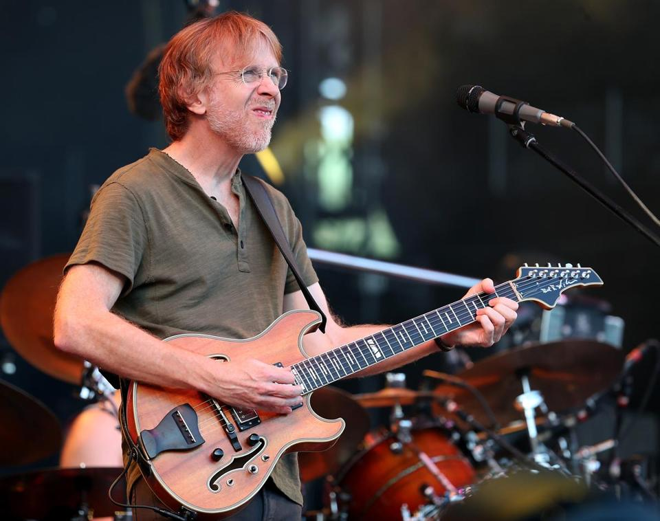 Phish frontman Trey Anastasio performing during the jam band's concert Friday at Fenway Park.