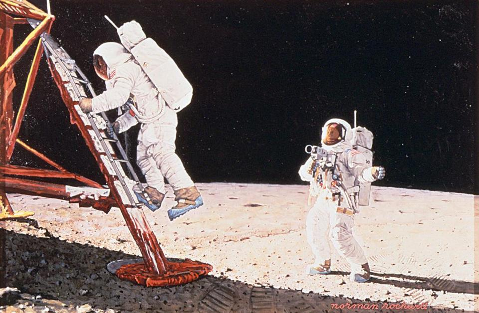 """The Final Impossibility: Man's Tracks on the Moon,"" by Norman Rockwell"
