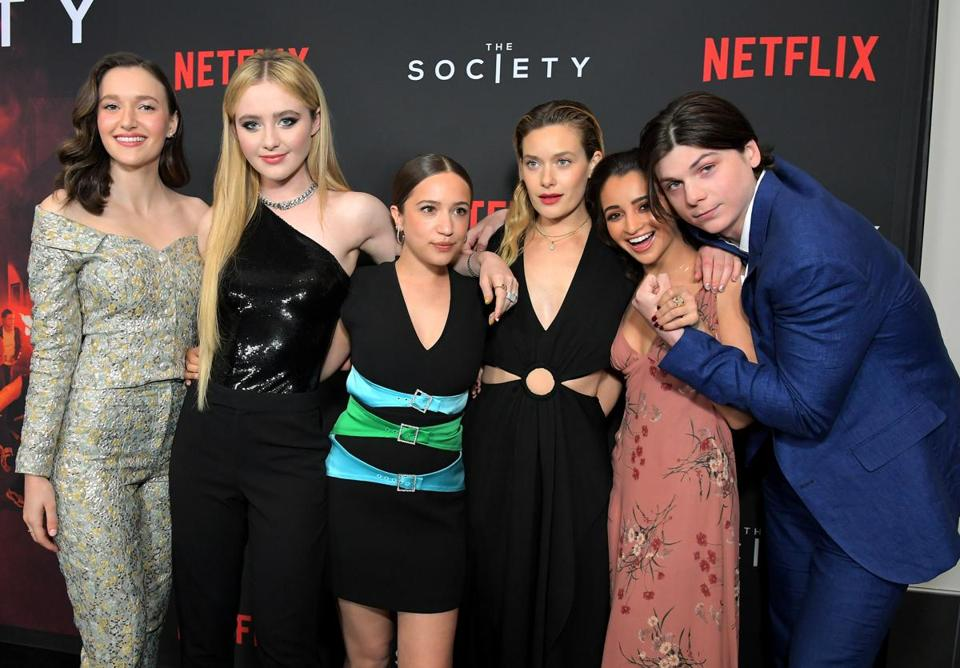 LOS ANGELES, CALIFORNIA - MAY 09: Olivia Nikkanen, Kathryn Newton, Gideon Adlon, Rachel Keller, Salena Qureshi and Jack Mulhern attends Netflix's 'The Society' premiere at Regal Cinemas L.A. LIVE on May 09, 2019 in Los Angeles, California. (Photo by Charley Gallay/Getty Images for Netflix)