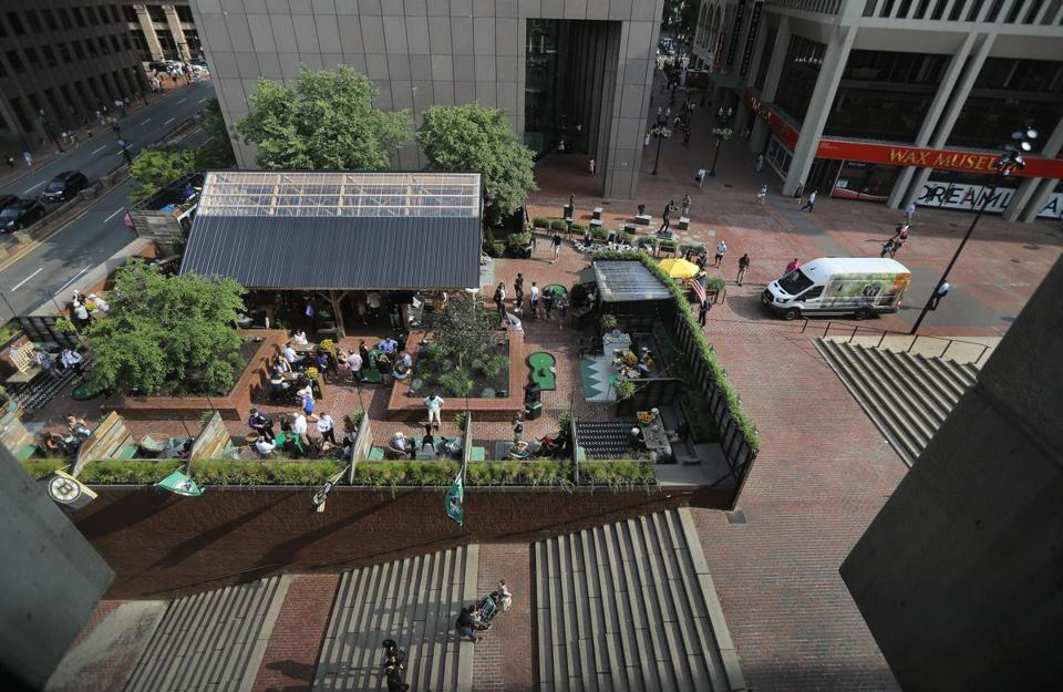 Boston, MA - 7/11/19 The Patios at Boston Seasons at City Hall Plaza. Photo by Pat Greenhouse/Globe Staff Topic: 13BarsRoofsPatios