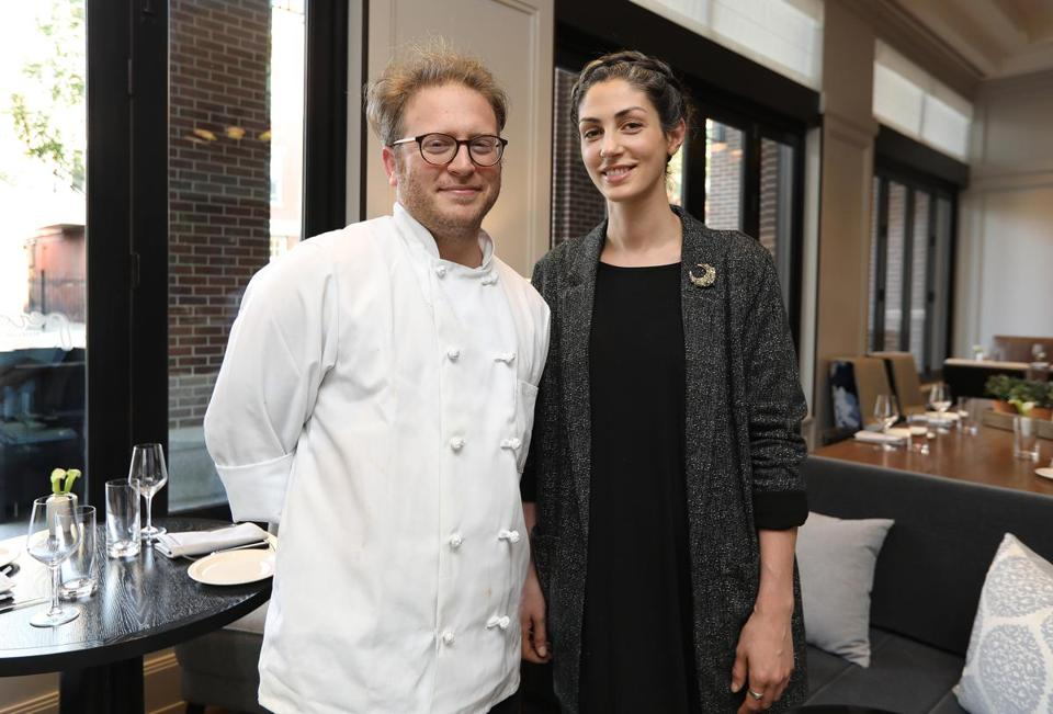Boston, MA - 7/9/19 owners Joshua Lewin (cq) and Katrina Jazayeri (cq) This Quick Bite is at Peregrine (cq) at The Whitney Hotel. Photo by Pat Greenhouse/Globe Staff Topic: 14qbPeregrine Reporter: Kara Baskin