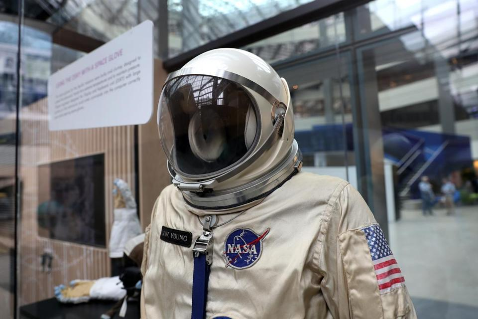 CAMBRIDGE, MA - 7/12/2019:A space suit.... Apollo 11 exhibit in the lobby of Draper Labs in Cambridge. Draper, in an ealrier incarnation, played a major role in the moon shot. (David L Ryan/Globe Staff ) SECTION: BUSINESS TOPIC