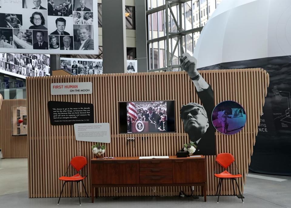 CAMBRIDGE, MA - 7/12/2019: Apollo 11 exhibit in the lobby of Draper Labs in Cambridge. Draper, in an ealrier incarnation, played a major role in the moon shot. (David L Ryan/Globe Staff ) SECTION: BUSINESS TOPIC