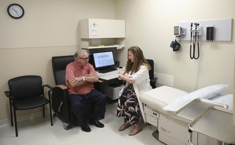 Dr. Jori Fleisher, neurologist, examined Thomas Doyle, 66, at the Rush University Medical Center in Chicago. Doyle hopes blood tests may someday replace the invasive diagnostic testing he endured to be diagnosed 4.5 years ago with Lewy body dementia.