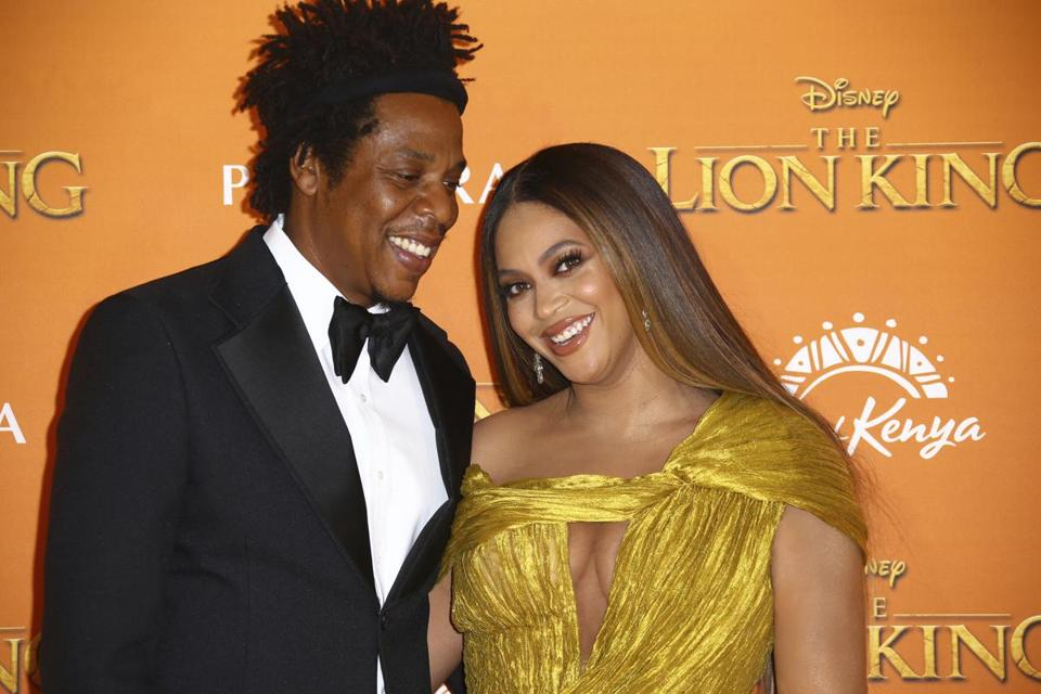 "Beyonce and Jay-Z arrived at the ""The Lion King"" European premiere in central London on Sunday."
