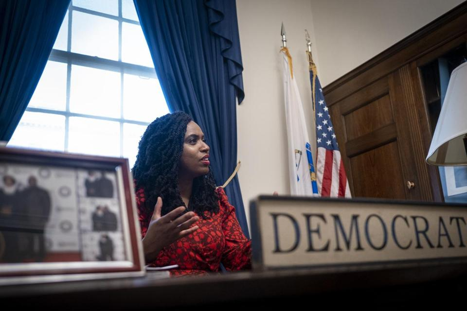Rep. Ayanna Presley (D-MA) in her office at the US Capitol in Washington, DC on July 17, 2019. (Pete Marovich for The Boston Globe)