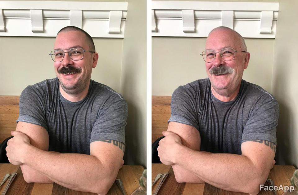 The author seen before and after the FaceApp aging process.