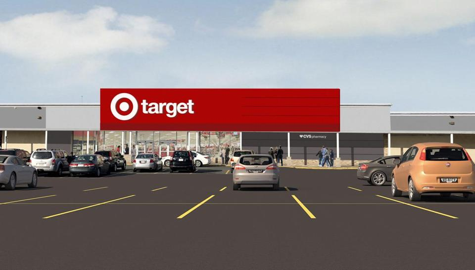A rendering of the new Target store in Dorchester's Fields Corner neighborhood. The retailer also will initiate its Drive Up service in the Boston area — as well as stores in Rhode Island, New Hampshire, Maine, and several other states — next week.