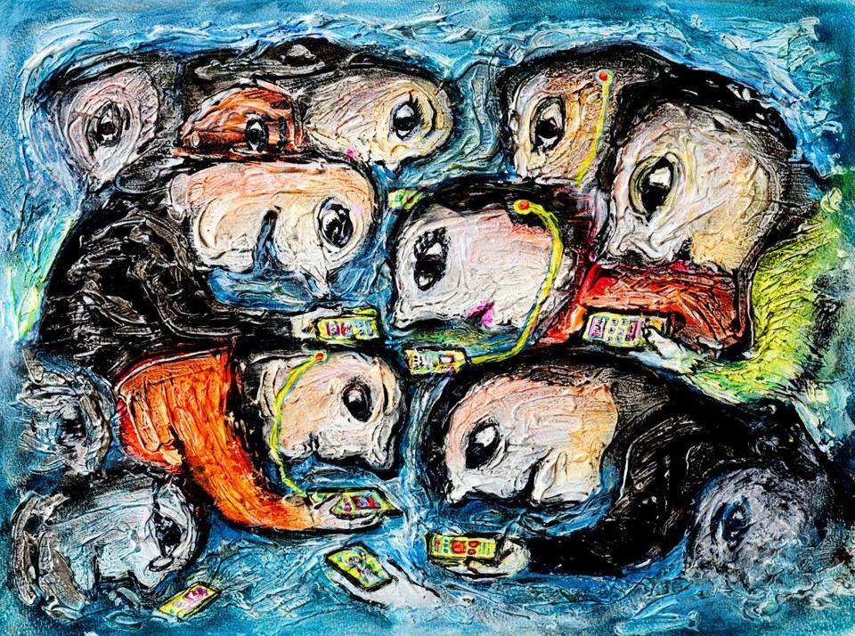 Original contemporary acrylic and pastel painting of people addicted to cell phone by Nalidsa Sukprasert