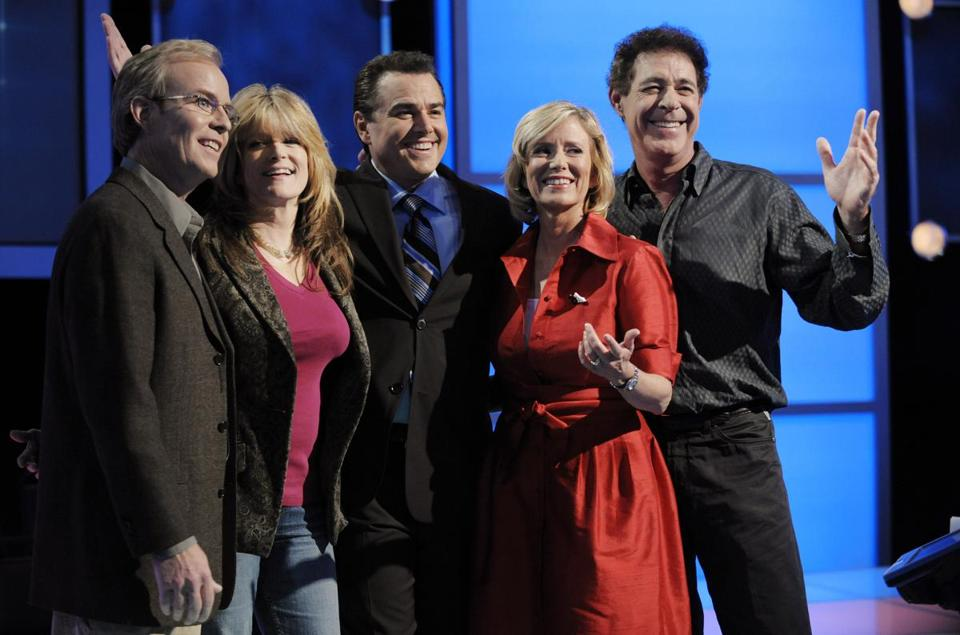 "FILE - In this Monday, Oct. 13, 2008 file photo, ""The Brady Bunch"" original cast members, from left, Mike Lookinland, Susan Olsen, Christopher Knight, Eve Plumb and Barry Williams pose together on the set of ""Trivial Pursuit: America Plays,"" in Los Angeles. On Friday, May 24, 2019, The Associated Press has found that stories circulating on the internet that CBS and Hulu removed The Brady Bunch episode where the family comes down with the measles because no one became seriously ill, putting it out of synch with the television companies' ""agenda,"" are untrue. (AP Photo/Chris Pizzello)"