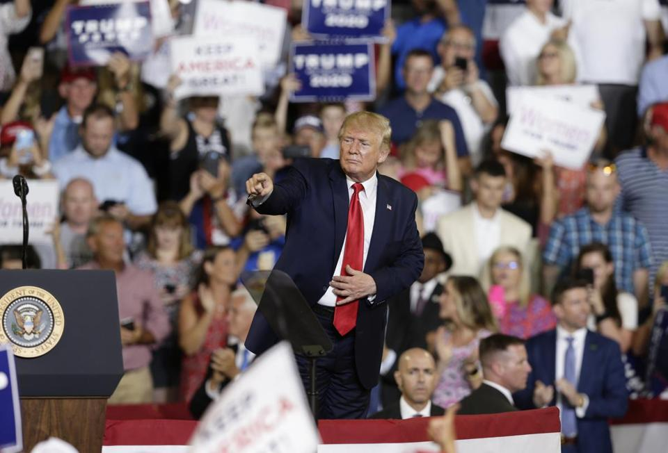 President Trump responded to supporters Wednesday during a rally in Greenville, N.C.