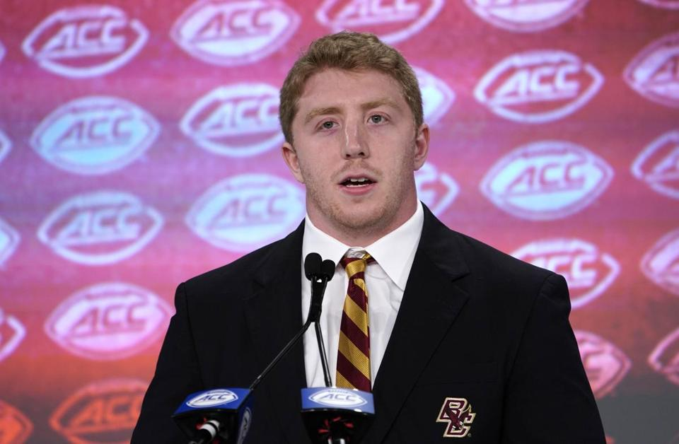 Boston College's Tanner Karafa speaks during the Atlantic Coast Conference NCAA college football media day in Charlotte, N.C., Wednesday, July 17, 2019. (AP Photo/Chuck Burton)