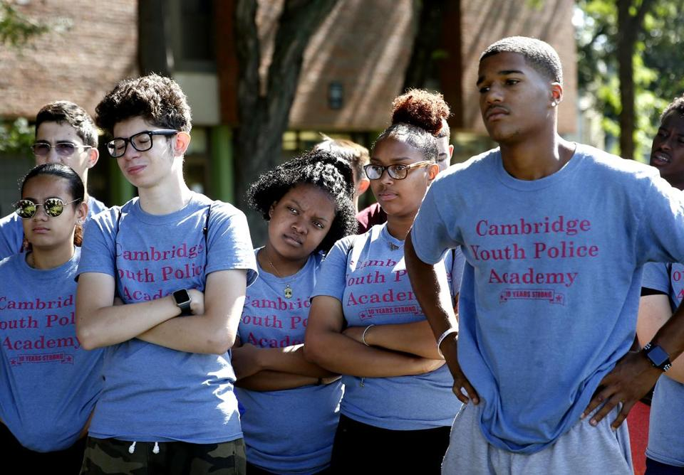 Members of the Cambridge Youth Police Academy gathered.