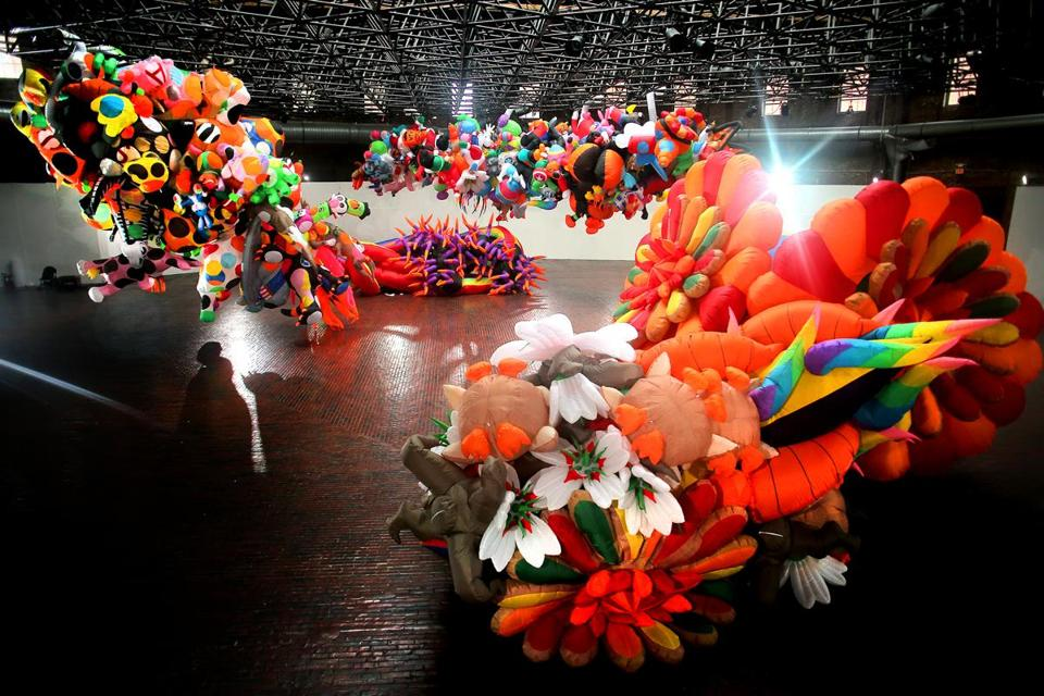 "Boston - 08/07/19 - Artist Nick Cave brings his giant inflatable installation ""Augment"" to the Cyclorama, hoping to bring joy along with it. (Lane Turner/Globe Staff) Reporter: (Murray Whyte) Topic: (09Tapfest)"