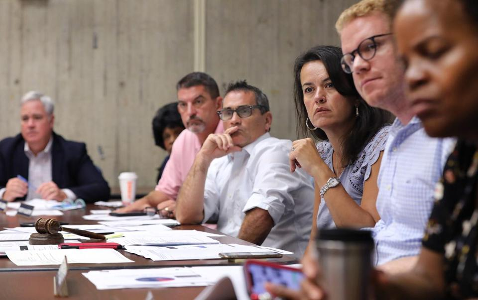 The Boston City Council, chaired by Councilor-At-Large Annissa Essaibi-George (third from right) held a working session on the opioid crisis on Tuesday.