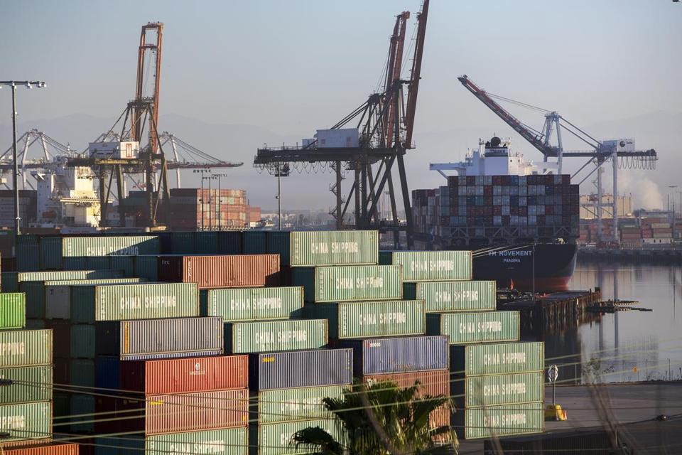 Cargo containers at the Port of Los Angeles. Items dropped from the tariff list include car seats, shipping containers, cranes, certain fish, and Bibles and other religious literature.