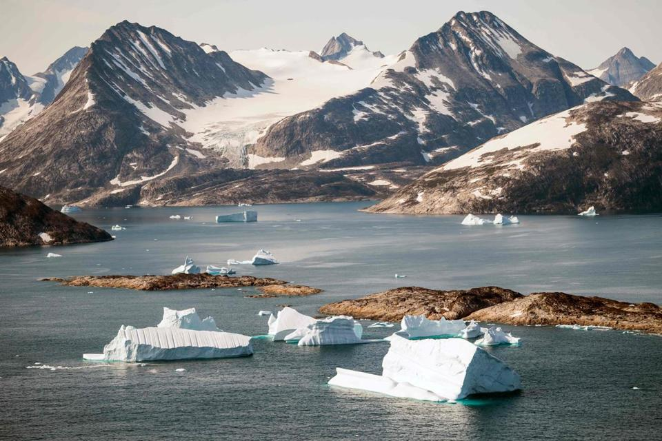 Icebergs floated along the eastern cost of Greenland last month.