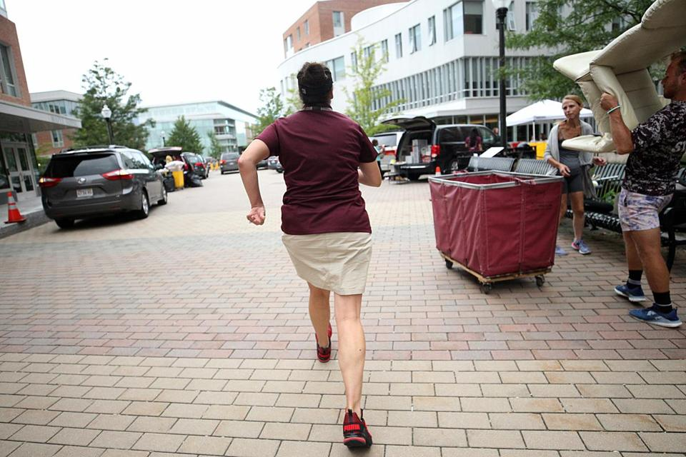 "Dawn ""General"" Bond keeps things moving on moving day at UMass Amherst."