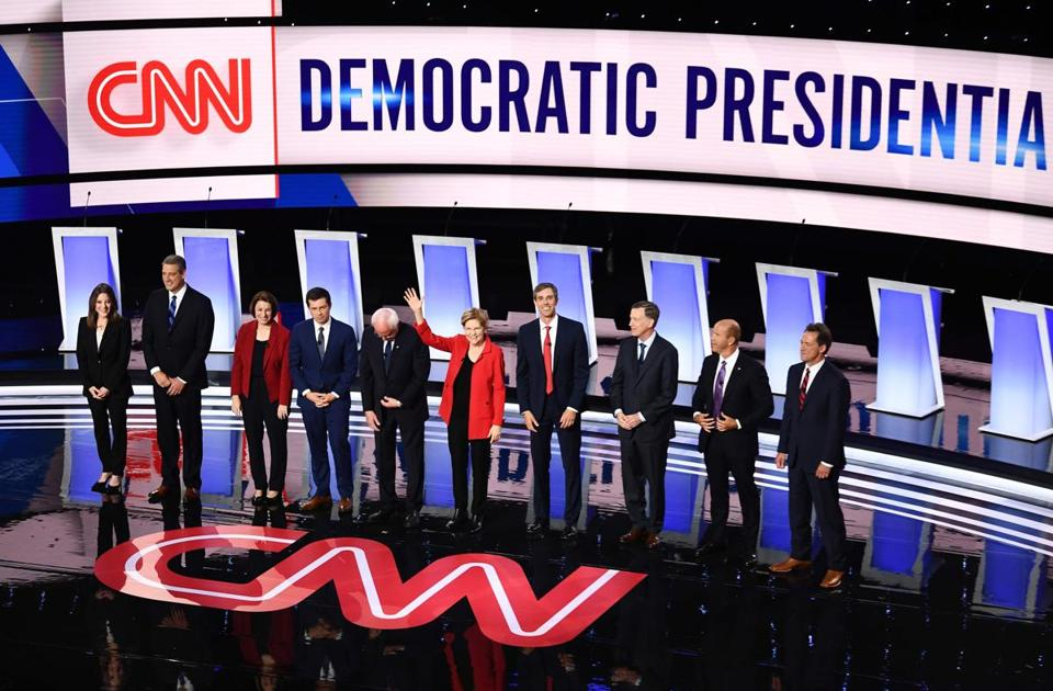 Round one of the second Democratic primary debate, July 30, 2019, in Detroit.