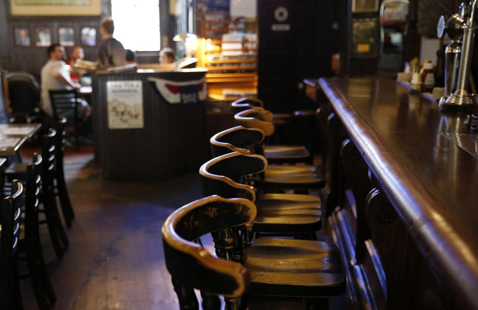 Empty chairs lined the bar inside Doyle's.