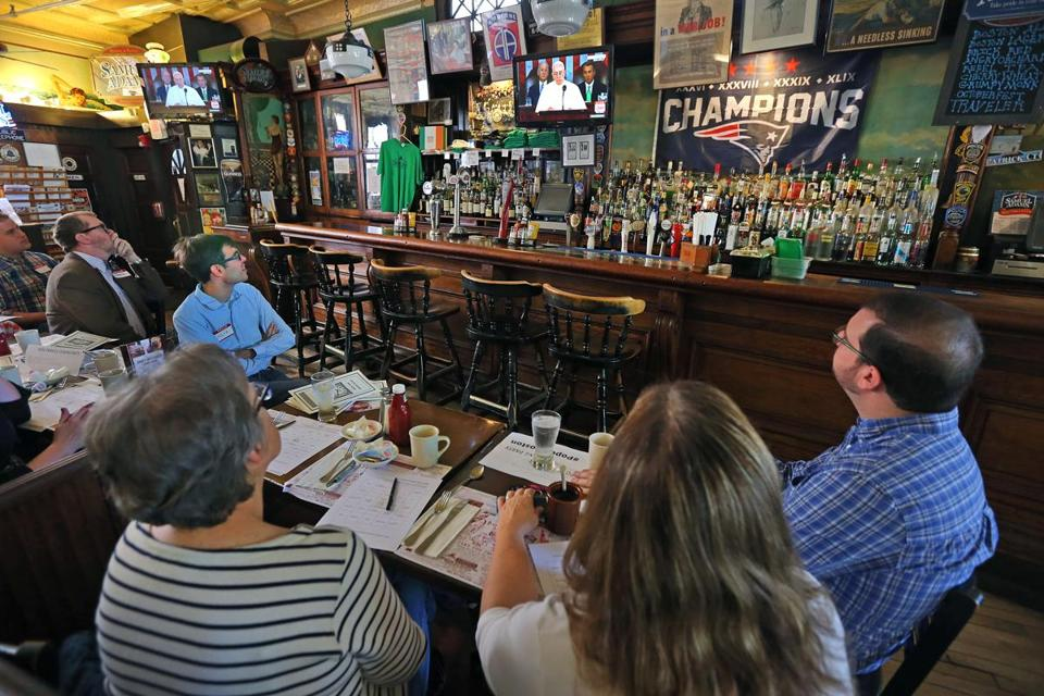 People attended a Pope Francis viewing party at Doyle's to watch the pontiff's address to Congress in 2015.