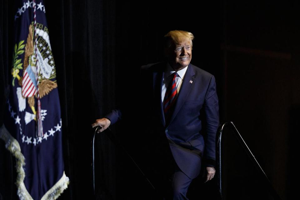 President Donald Trump arrives to speak at the 2019 National Historically Black Colleges and Universities Week Conference in Washington, Tuesday, Sept. 10, 2019. (AP Photo/Carolyn Kaster)