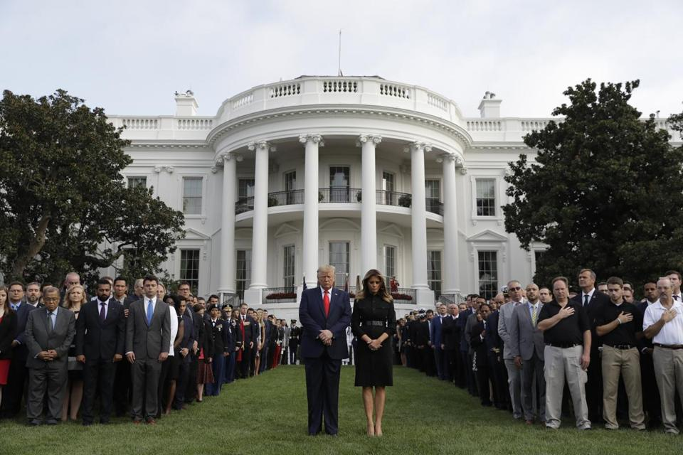 President Trump and first lady Melania Trump participated in a moment of silence honoring the victims of the Sept. 11 terrorist attacks.