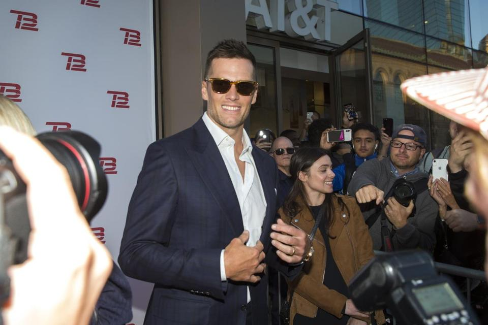 Boston, MA - 9/17/2019 - Tom Brady makes his entrance to the TB12 Grand Opening Event at the TB12 Performance & Recovery Center in Boston, Mass. on Tuesday, Sept. 17. (Nic Antaya for The Boston Globe) Topic: 18TB12photos