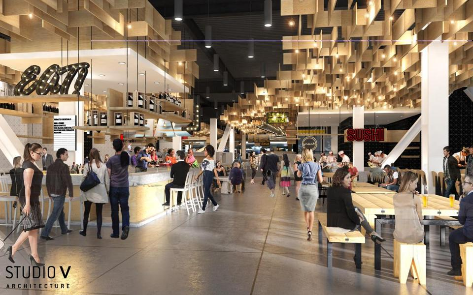 A rendering of the Hub Hall food hall coming to Hub on Causeway near TD Garden.