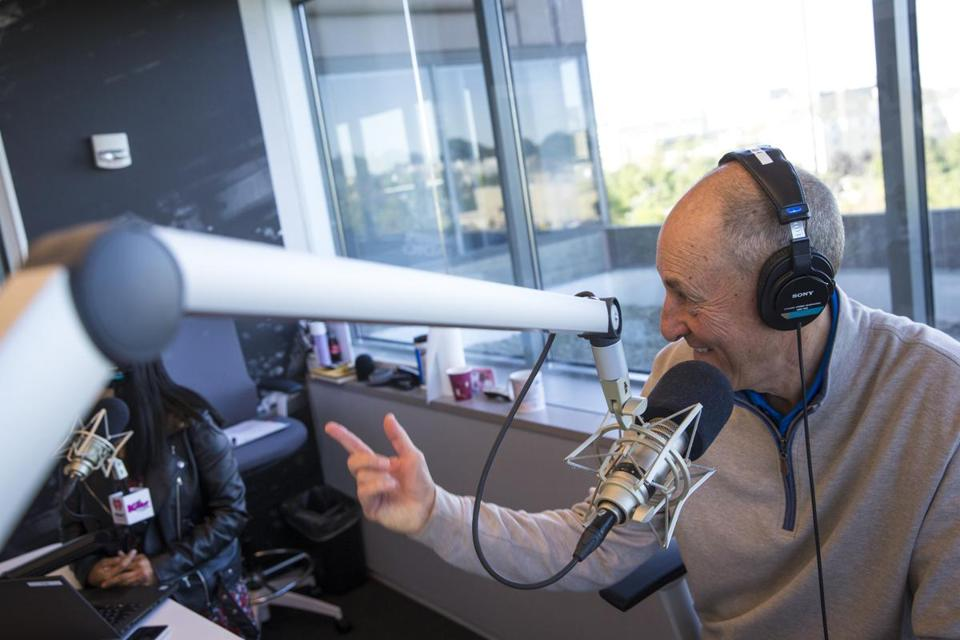 Medford, MA - 9/19/2019 - Matt Siegel of Newton talks during the Matty in the Morning radio show in Medford, Mass. on Thursday, Sept. 19. (Nic Antaya for The Boston Globe) Topic: 29Matty