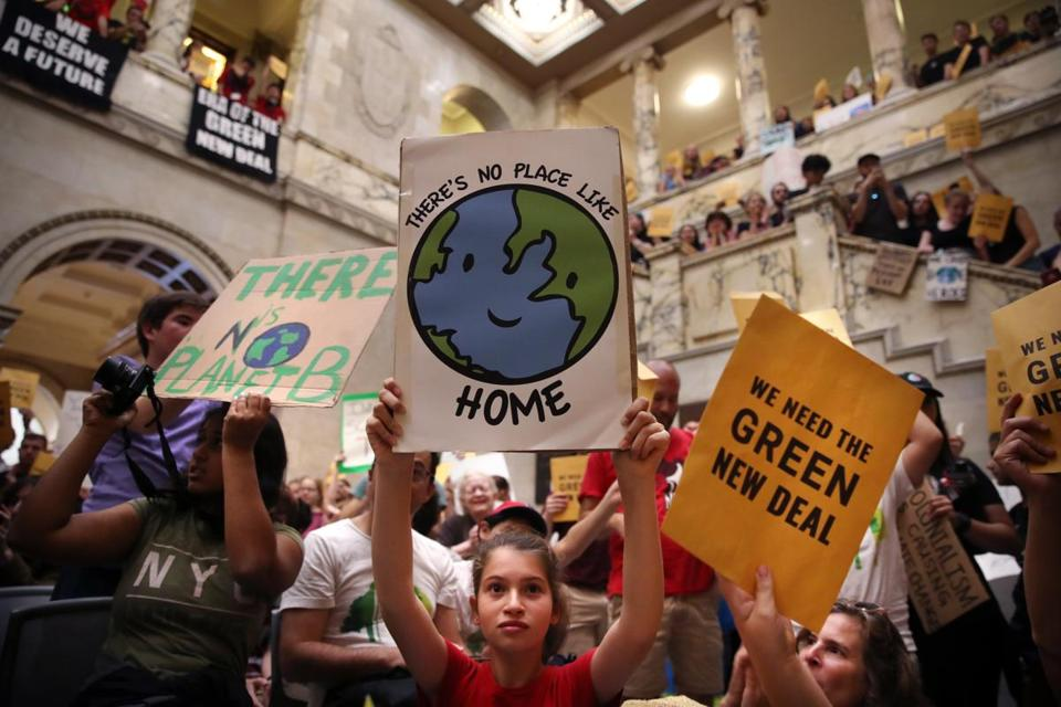 "Youths filled the State House on Sept. 20 during the youth ""climate strike"" event in Boston. Writes Tatiana Schlossberg: ""It's OK to be angry and upset, but you have to stay engaged and involved."""