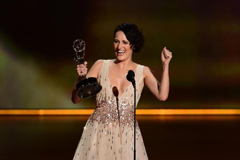 "British actress Phoebe Waller-Bridge accepts the Outstanding Lead Actress in a Comedy Series award for ""Fleabag"" onstage during the 71st Emmy Awards at the Microsoft Theatre in Los Angeles on September 22, 2019. (Photo by Frederic J. BROWN / AFP)FREDERIC J. BROWN/AFP/Getty Images"